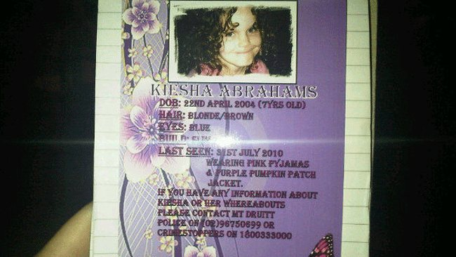 The flyer seeking help to find Kiesha was handed out at a vigil after remains were found / Picture: Katherine Danks