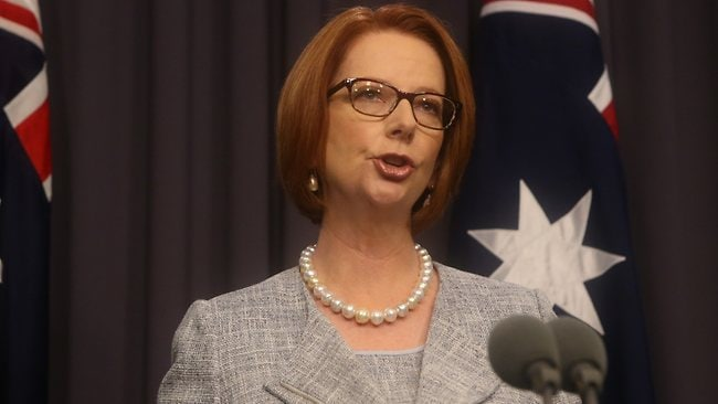 Julia Gillard announces her reshuffled ministry in Canberra. Picture: Ray Strange