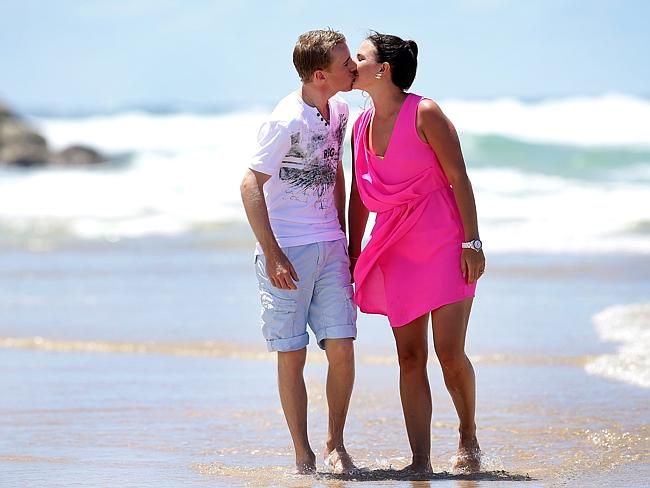 Nathan Berry with then fiancee Whitney Schofield enjoy the day at the beach at Tallebudgera after his big win in the Magic Millions. Picture: Adam Head