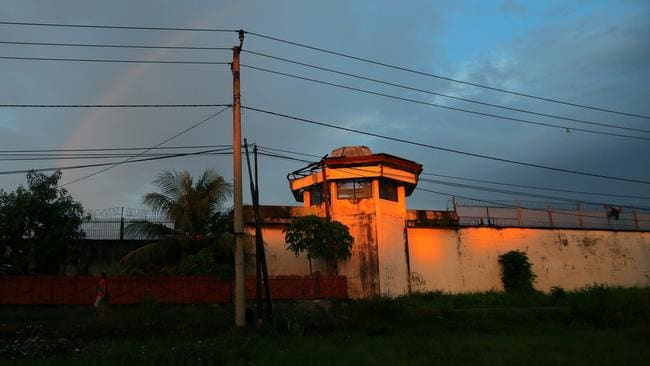 A rainbow shines down upon Kerobokan prison. Picture: Adam Taylor