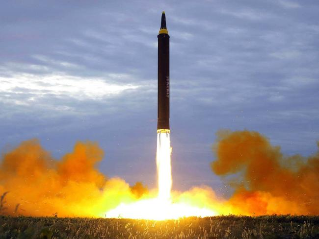 North Korea uses UDMH to fuel its intercontinental ballistic missiles. Picture: Korean Central News Agency/Korea News Service via AP
