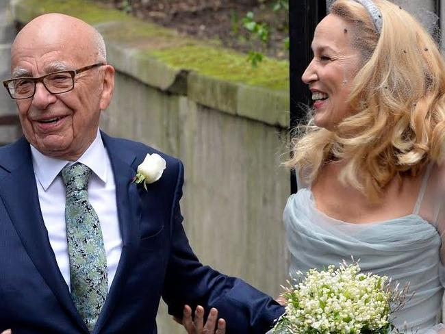 "Beaming ... Rupert Murdoch and bride Jerry Hall, who said she felt ""absolutely wonderful"". Picture: Joel Ryan/Invision/AP"