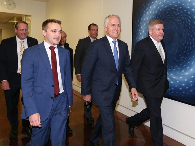 Malcolm Turnbull arrives for the Liberal Leadership ballot at Parliament House in Canberra. Picture: Kym Smith
