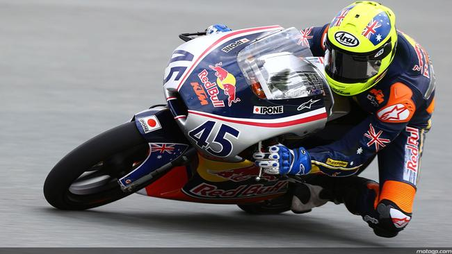 Olly Simpson too pole position. Picture: MotoGP.com