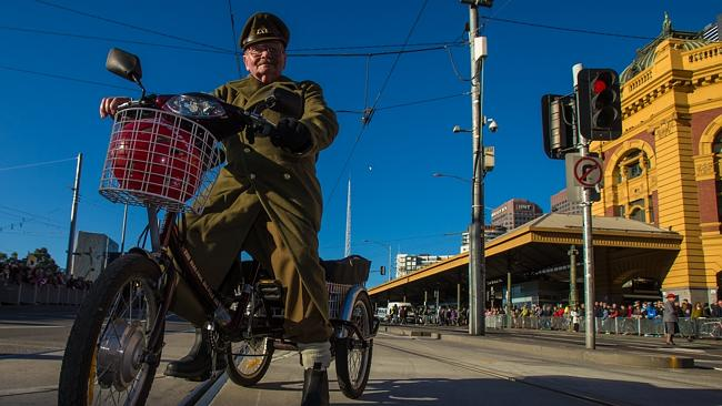 Charles Agar, 80, helps organise the Anzac Day Parade march to the Shrine. Picture: Mark Dadswell