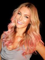 Mercedes Benz Fashion Festival 2012 at Sydney Town Hall. Jennifer Hawkins has coloured her hair pink for the Bendon Lingerie show this evening. Picture: Adam Ward