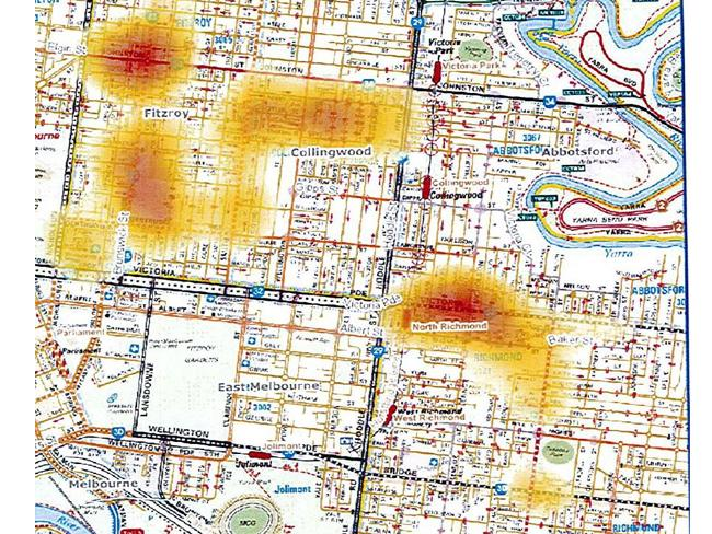 Melbourne gangs secret police map shows where Melbourne gang violence occurs