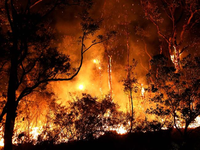 The McGills Rd fire in Kremnos is part of a 700 hectare fire that threatened more than a dozen homes near Blackbutt Rd and Curlew Drive. Picture: Frank Redward