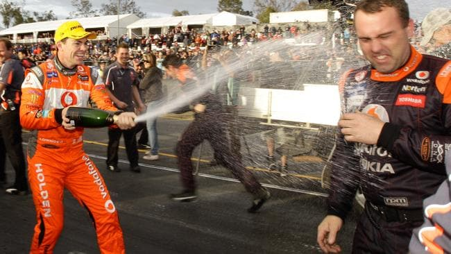 Lowndes celebrating victory at QR in 2011.