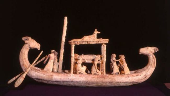 A model of a funerary boat. Picture: Australian Museum