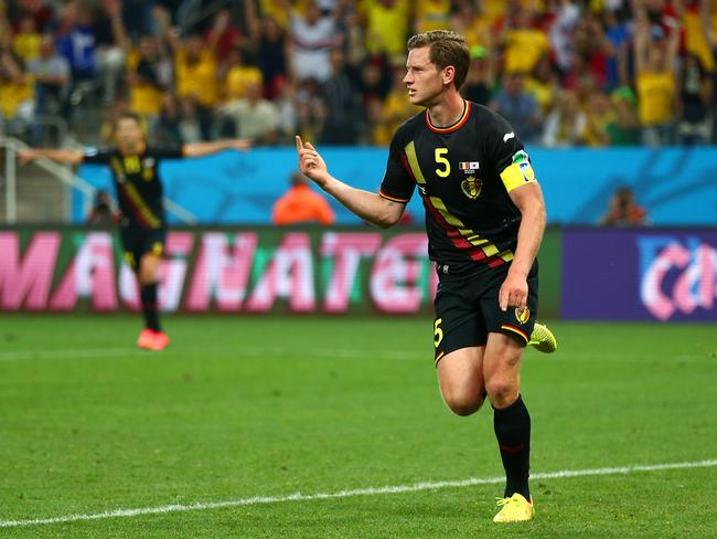 Jan Vertonghen of Belgium celebrates scoring his team's first goal against South Korea.