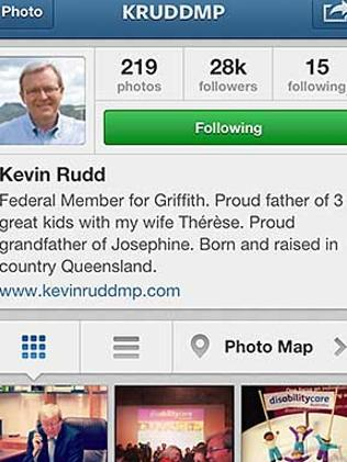 Kevin Rudd's Instagram home page.