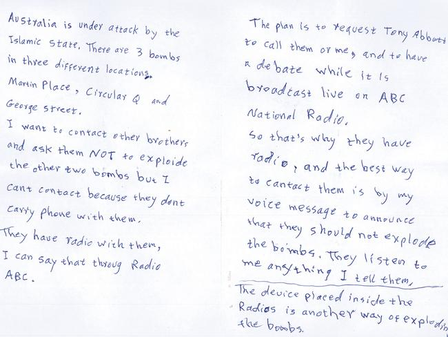 A copy of the note Tori Johnson was made to read during triple-0 call.