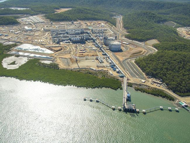 The LNG plant at Curtis Island, Gladstone where gas is liquefied and sent overseas.