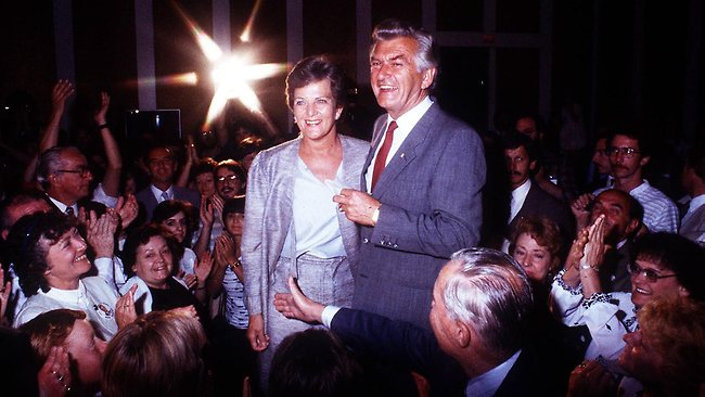 Hazel Hawke with husband Bob after his re-election as prime minister in 1984.