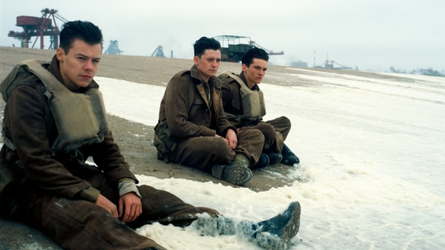 Harry Styles with his co-stars including Fionn Whitehead in 'Dunkirk'. Photo: Roadshow