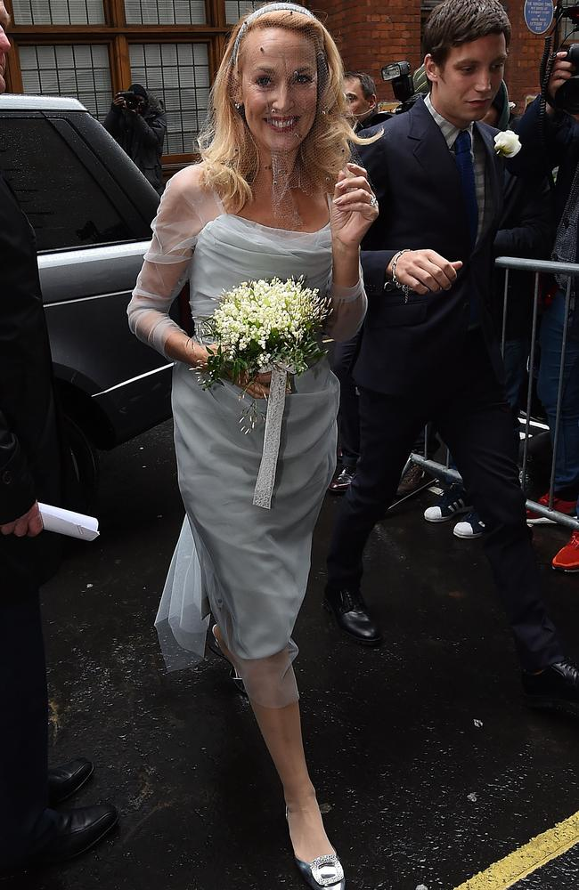 Jerry Hall arrives for her wedding to Rupert Murdoch at St Brides Church, Fleet Street. Picture: Getty