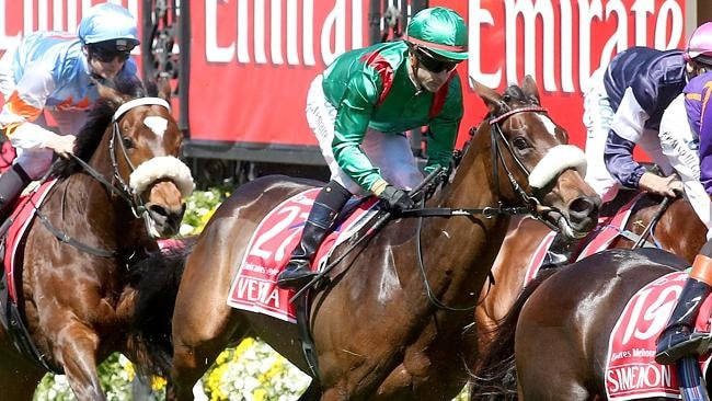 Verema moments before she snapped her cannon bone in the 2013 Melbourne Cup. Picture: Wayne Ludbey