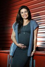 Home and Away actor Ada Nicodemou is pictured at the Channel 7 studios in Sydney. Nicodemou is heavily pregnant with her first child. Pic: Dan Himbrechts