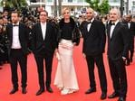 "Jury members Joachim Lafosse, Reda Kateb, president of the jury 'Un certain Regard' Uma Thurman, jury members Mohamed Diab and Karel Och attend the ""Loveless (Nelyubov)"" screening during the 70th annual Cannes Film Festival at Palais des Festivals on May 18, 2017 in Cannes, France. Picture: AFP"