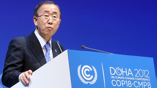 """UN chief Ban Ki-moon has urged governments to speed up action to deal with the """"existential challenge"""" of climate change. Picture: AP"""