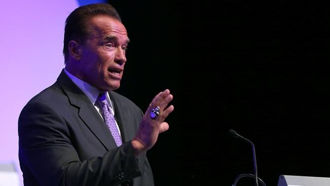 Arnold Schwarzenegger at the 2013 Financial Education Summit in Perth on Wednesday night. Picture: Paul Kane/Getty Images