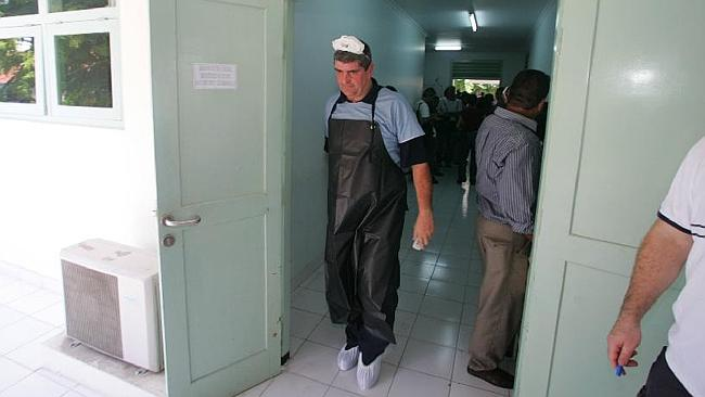 Australian federal Police Disaster Victims Identification unit commander Mick Travis at Denpasar Hospital following the 2005 Bali bombing. Picture: News Limited.