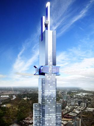 Artist's impression of the approved Australia 108 tower. Picture and image Fender Katsalidis Architects.