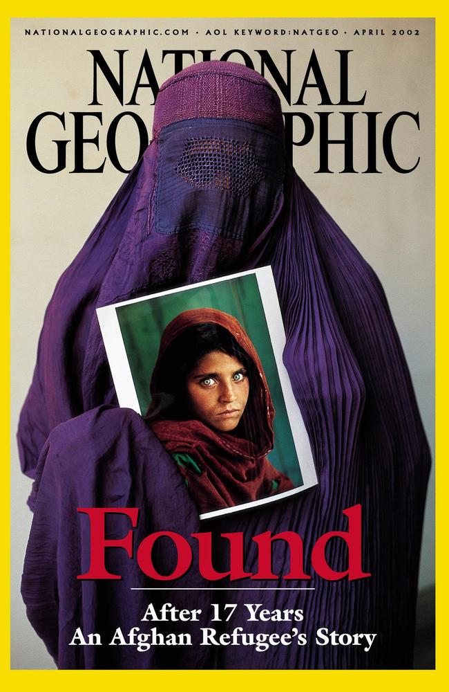 Sharbat Gula binds her portrait, that became a many famous design ever to seem on a cover of National Geographic magazine. Picture: AP Photo/National Geographic Society, Steve McCurry
