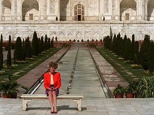 Diana sits in front of the Taj Mahal in the Indian city of Agra in 1992.