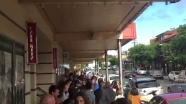 Lines for the screening extended around 150m. Picture: Michael Barrett.