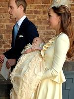 Wearing a replica of an intricate lace and satin gown made for Queen Victoria's eldest daughter and first used in 1841, Prince George was formally baptised in a private low-key ceremony that again broke conventions and royal norms. Picture: Getty