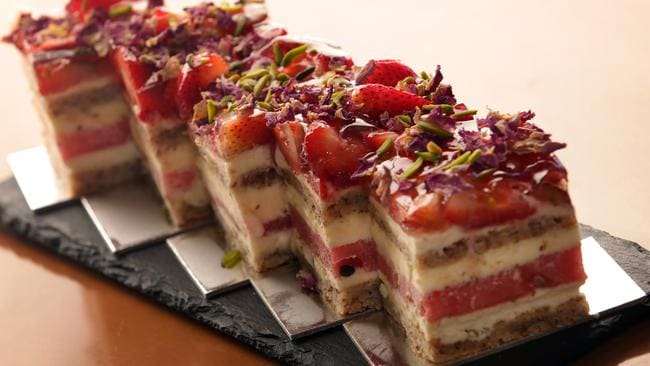 The famous strawberry and watermelon cake.