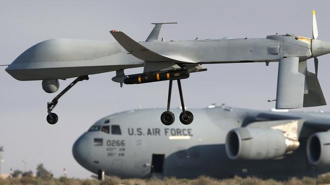 A US Air Force MQ-1B Predator unmanned aerial vehicle, carrying a Hellfire air-to-surface missile. Picture: John Moore/Getty Images