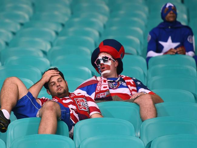 The party is over for these dejected United States fans.