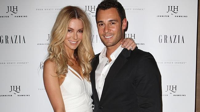 Jennifer Hawkins and Jake Wall launch her JLH Shoe range with drinks at The Park Hyatt Hotel in The Rocks, Sydney. Pic. Richard Dobson