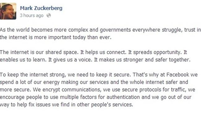 A snippet of Zuckerberg's Facebook post stating how he contacted President Obama.