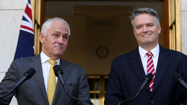 Malcolm Turnbull and Mathias Cormann announce the reforms in Canberra on Monday. Picture: Kym Smith