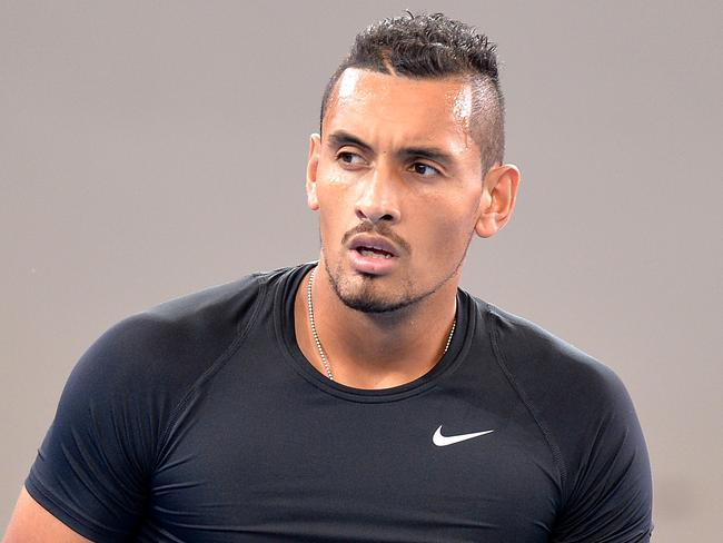 FOR QWEEKEND - BRISBANE, AUSTRALIA - APRIL 04: Nick Kyrgios of Australia during a practice session ahead of the Davis Cup World Group Quarterfinals tie between Australia and the United States at Pat Rafter Arena on April 4, 2017 in Brisbane, Australia.  (Photo by Bradley Kanaris/Getty Images)