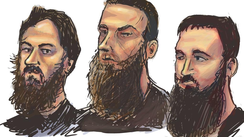 "Accused ""tinny terrorists"" (L-R) Antonio Granata, Musa Cerantonio, Paul Dacre. Illustration: Mitchell Toy"