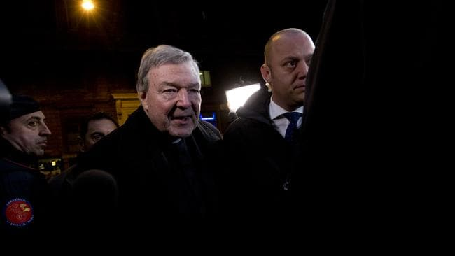 Cardinal George Pell arrives at the Hotel Quirinale in Rome for a third day of questioning. Picture: AP Photo