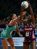 Firebirds GS Romelda Aiken contests with Vixens GK Geva Mentor. Picture: Norm Oorloff