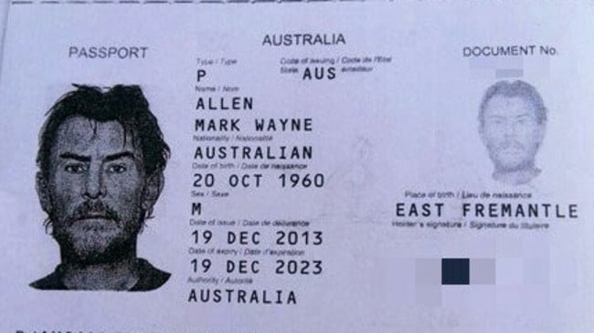 The passport of Australian man Mark Allen, whose body was found in his room at a Phnom Penh guesthouse on Thursday. Picture: Cambodian Police