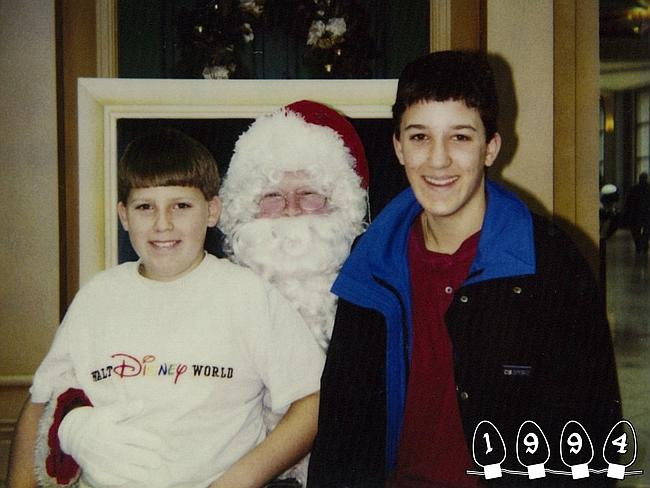 1994 ... 10 years on they are still going strong with Santa photos together. Martin was 10 while Mike was 14 at the time. Picture: Martin Gray