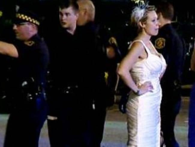 Bride's nightmare ... Edyta Williams stands by after her husband is arrested. Picture: KDKA