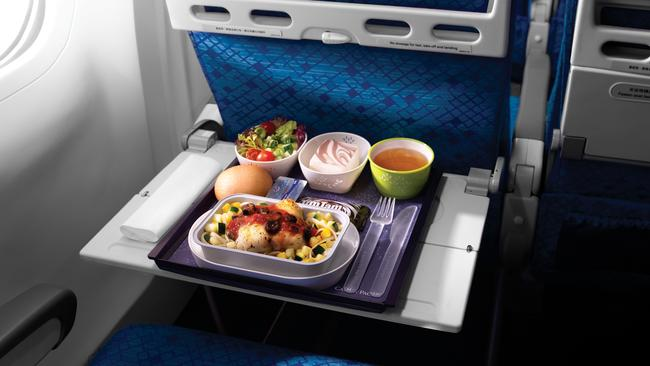 Economy Class dining on Cathay Pacific. Picture: Supplied.