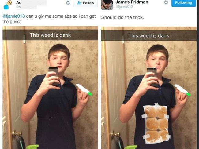 Abs-loute fail ... will he get the girls? Picture: Twitter/James Fridman