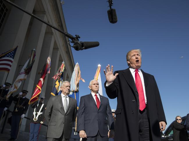 President Donald Trump, joined by Defense Secretary Jim Mattis, left, and Vice President Mike Pence at the Pentagon on Thursday. Picture: Carolyn Kaster