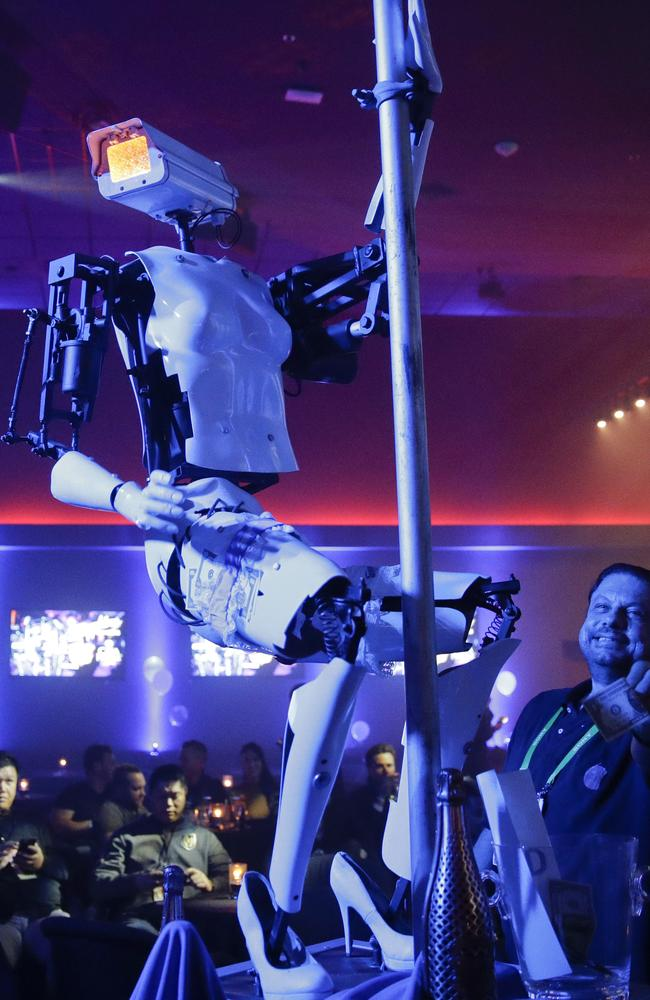 A pole-dancing robot built by British artist Giles Walker performs at a gentlemen's club in Las Vegas. Picture: AP