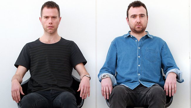 Bandmembers of duo The Presets, Julian Hamilton and Nick Moyes. Pic: Alan Pryke